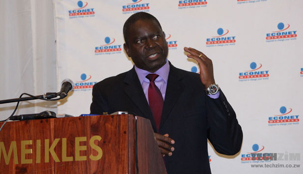 Econet Chief Executive, Douglas Mboweni, at the announcement of the 4G LTE services earlier this morning