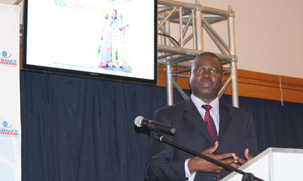 Econet CEO, Douglas Mboweni, speaks at the announcement of the company's half year results in Harare today