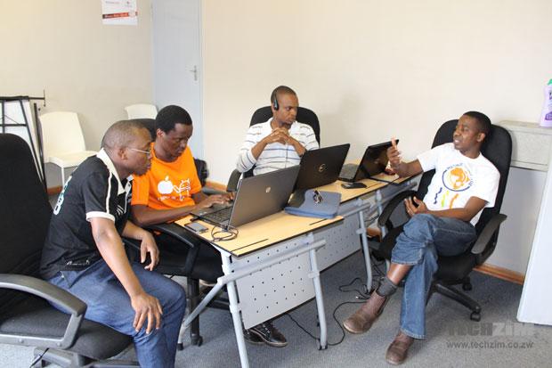 The team working on Syllabus. These are former University of Zimbabwe Students: Michael Chiwere, Tatenda Nyamugama, Wiseman Kuchera