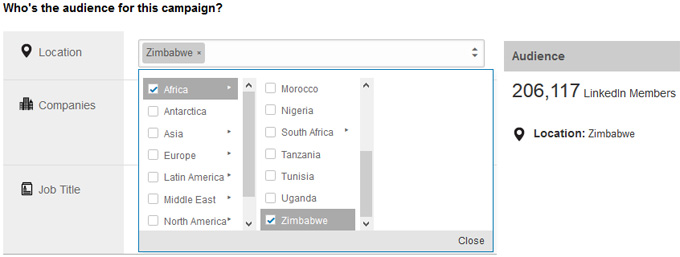 Linkedin Country targeting