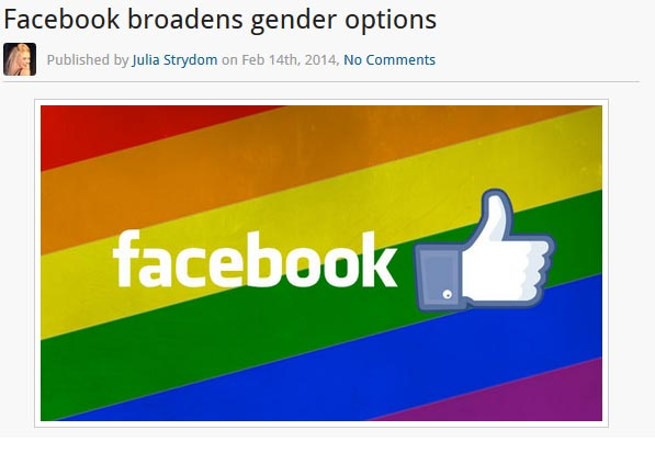 "Facebook has added about 50 ""custom-gender"" options. Wow. A person is either born male or female end of story."