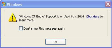 A dialogue box announcing the impending doom of XP.