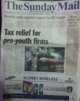 Tax relief fr pro-youth firms - Sunday Mail front page