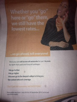 NetOne advert advising reduction in tariffs