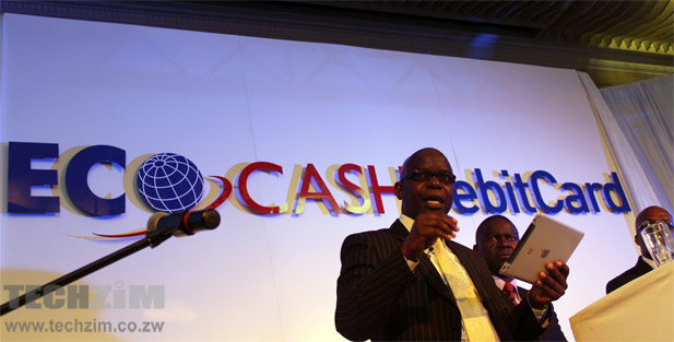 EcoCash CEO, Cuthbert Tembedza, speaks at the launch of the EcoCash Mastercard debit card in Harare today