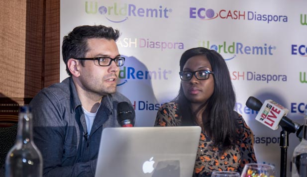 A EcoCash and WorldRemit representative at a press conference recently