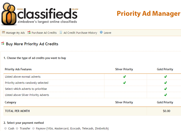 Classifieds Priority Listing