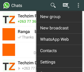 WhatsApp Web menu item