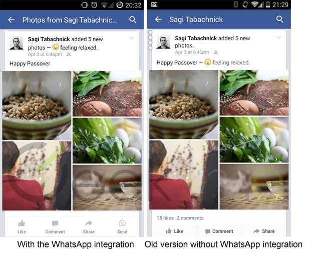 Shots showing the integration of a WhatsApp Send Button in facebook (image credit: Geektime)