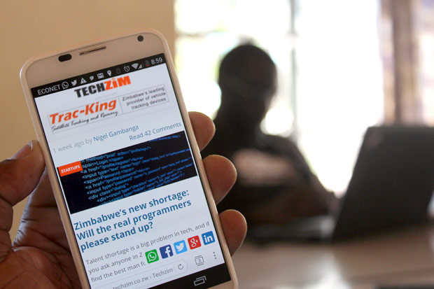 Mobile phone screen showing Techzim site
