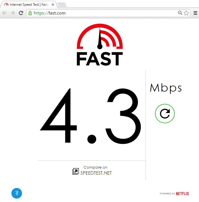Netflix fast.com speedtest
