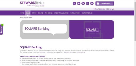 Square Banking, Steward Bank's mobile banking solution