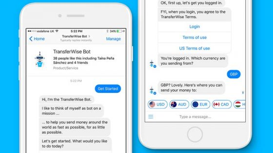 Facebook Messenger, Bots, TransferWise, Money transfers, remittances