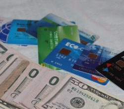 Bank cards with US dollars