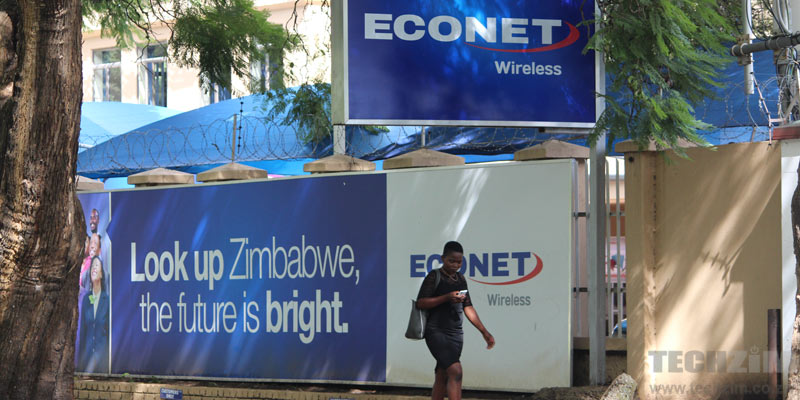 Econet Connected Car Econet sign, woman on phone