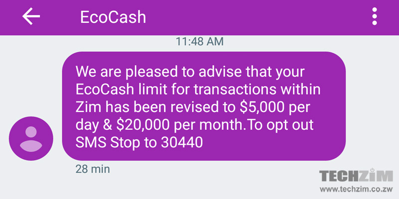 Increase in Ecocash transaction limit