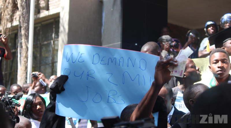 Crowd demanding jobs