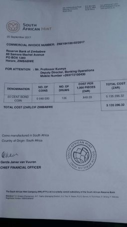 Rbz bond coin invoice