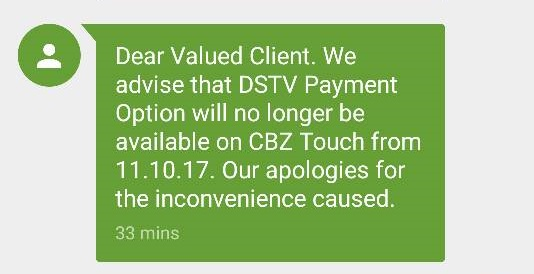 CBZ touch cancels dstv payments