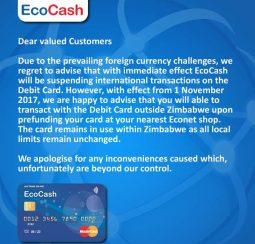 Ecocash suspends Mastercard