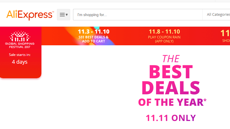 AliExpress 11-11 Sale, AliExpress 11-11 Global Shopping Festival