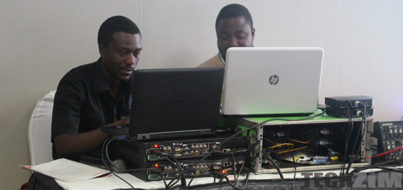 Men using computers
