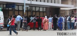 People queuing at a bank
