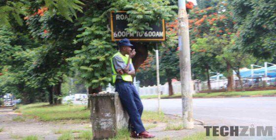 Policeman sitting