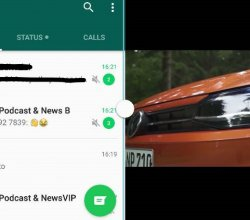 WhatsApp and YouTube in a split screen