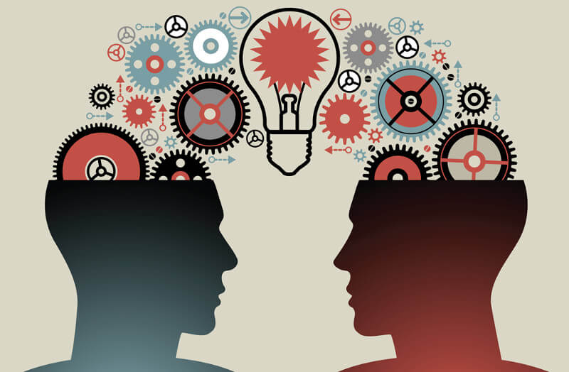 An artwork showing two people sharing ideas