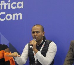 Chika Uwazie, Dinesh Patel, and Zachariah George at AfricaCom 2017 talking about startup funding