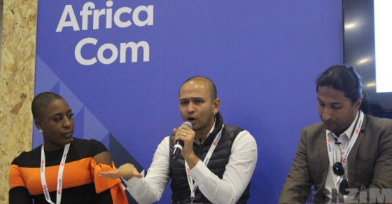 Chika Uwazie, Dinesh Patel, and Zachariah George at AfricaCom 2017 talking about startup funding at AfricaCom