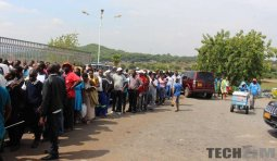 People standing in queues