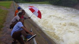 Techzim Team jumping into water
