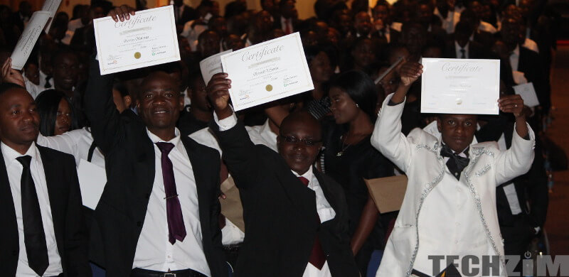 Muzinda Hub Graduates raising their certificates