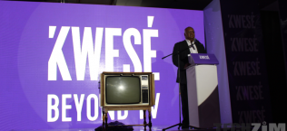 An old TV set in front of a Kwese logo