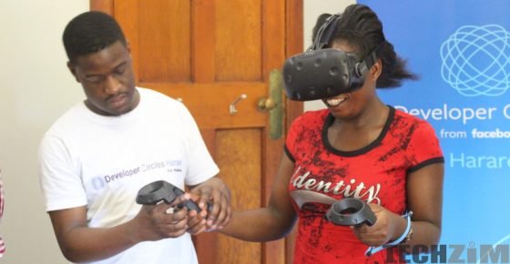 Harare Facebook Developer Circle member using an HTC Vive