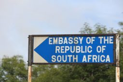 directional sign south african embassy