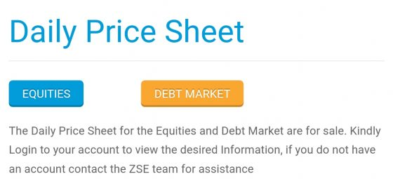 ZSE website screenshot: Daily Price Sheet now for sale