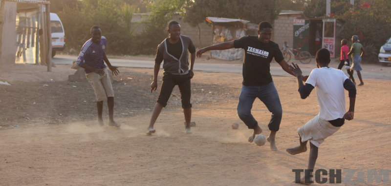 Men playing football