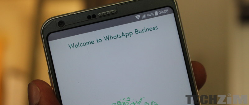 A phone showing WhatsApp Business start screen