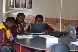 School kids on laptops