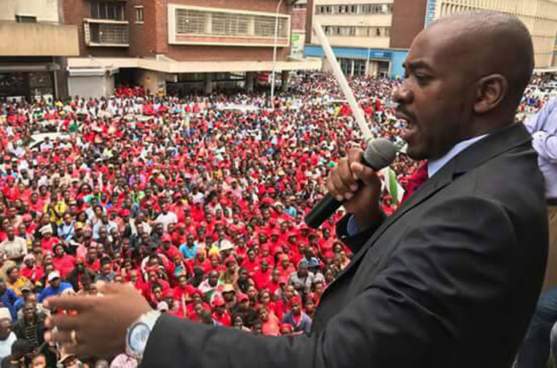 Nelson Chamisa addressing a rally