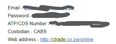 C Trade Welcome email details