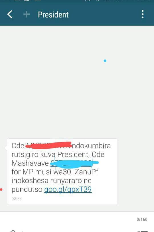 ZANU PF message to people