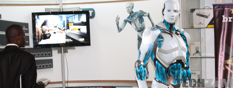 Man next to a human representation of artificial intelligence