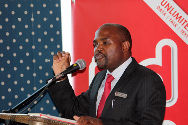 Octavius Kahiya, speaking at the launch of Telecel Red