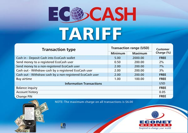 econet reviews ecocash mobile money transfer tariffs techzim. Black Bedroom Furniture Sets. Home Design Ideas