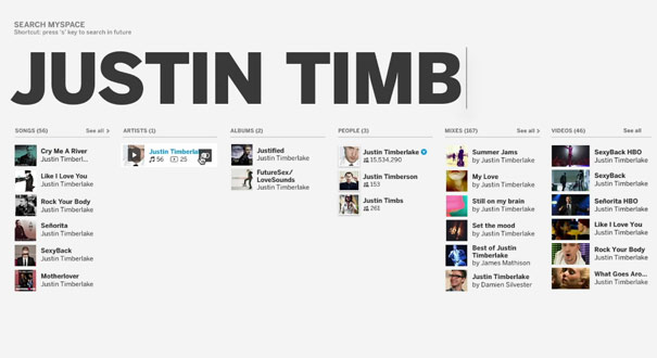 Justin Timberlake Myspace search